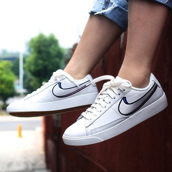 new concept d219c c241f Nike White Leather 3D Swoosh Blazer Lo Sneakers